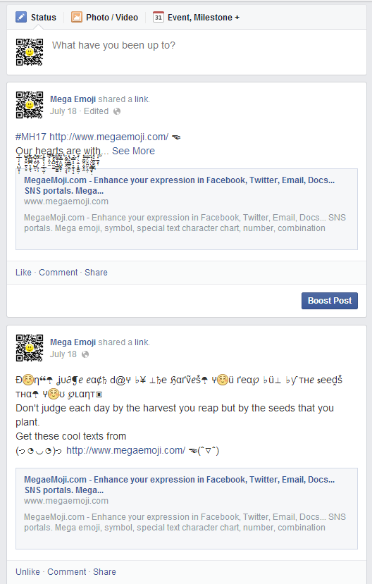 Tutorial Play Facebook With Our Symbols Text Art And Text Tools